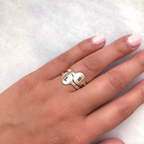 Sterling Silver Hand Stamped Initial Ring