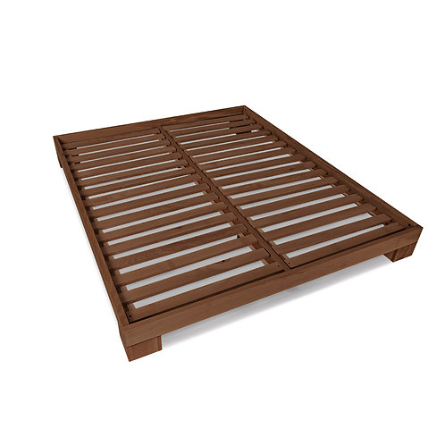 Cube double bed 140x200 walnut (linseed oil)