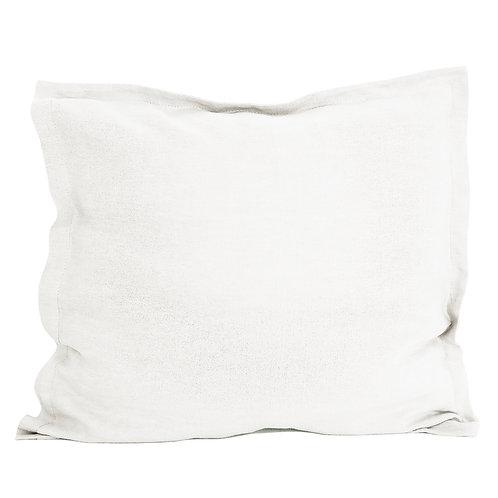 Flap linen pillowcase white - 80x80 cm