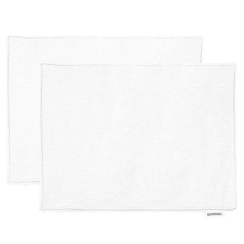 Linen 2 placemats set white - 44x34 cm