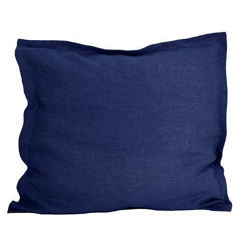 Flap linen pillowcase navy blue - 80x80 cm