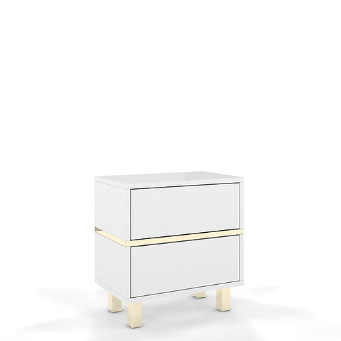 Elegant white Dancan MAGICA bedside table with golden accessories
