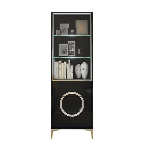 Black modern EVA display cabinet with glass doors / high gloss