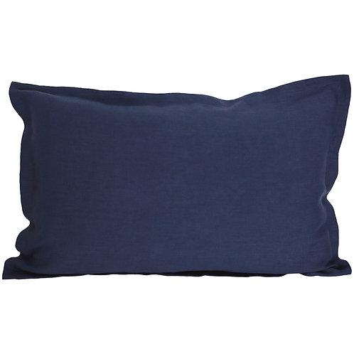 Flap linen pillowcase navy blue - 40x80 cm