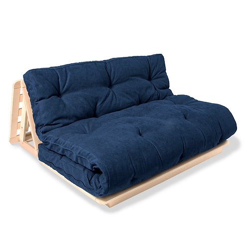 Layti 140 futon sofa natural (linseed oil) - blue