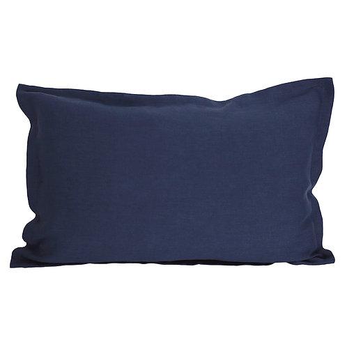 Flap linen pillowcase navy blue - 50x60 cm