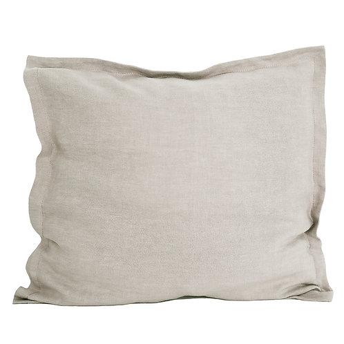 Flap linen pillowcase natural beige - 50x50 cm