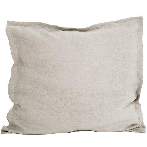 Flap linen pillowcase natural beige - 80x80 cm