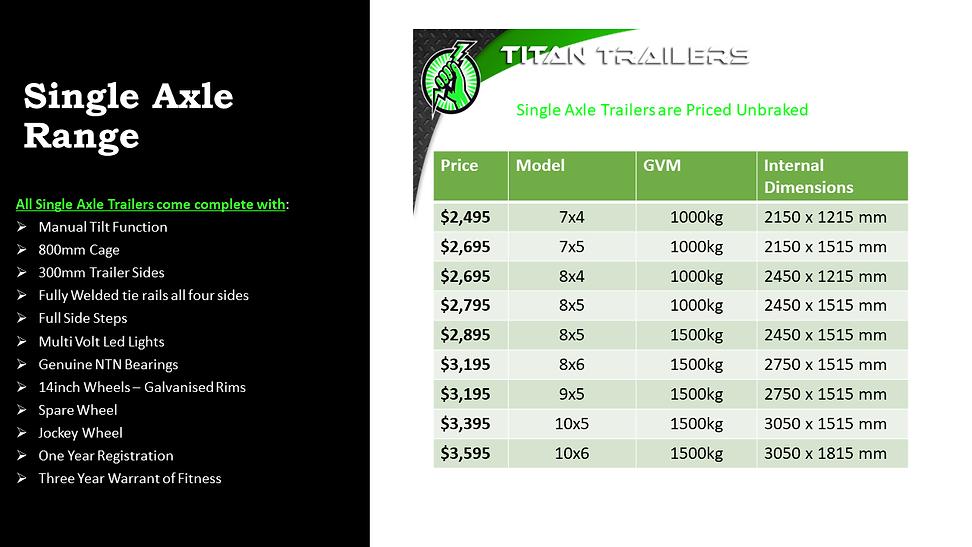 Titan Single Axle Trailers