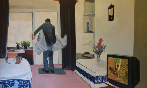 'I'm on Telly.' (2020). Acrylic and oil paint on canvas. 154x94cm
