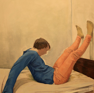 On a bed in an awkward position (2020).oil on canvas. 1016x1016mm.