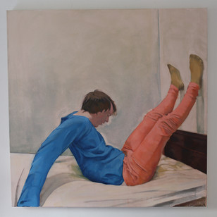 On a bed in an awkward position. (2020). Oil on canvas 101.6x101.6cm