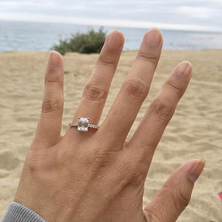 Simple and perfect proposal along the California coast featuring a stunning Bijoux by Amy emerald cu