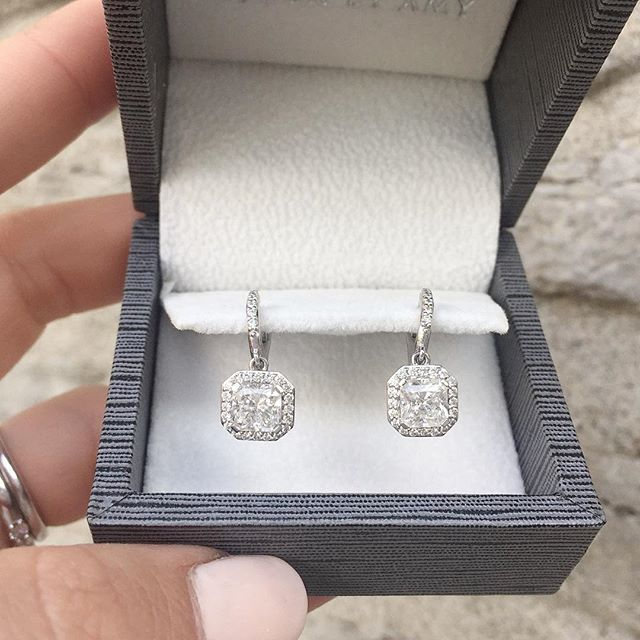 Diamond drop earrings I borrowed for my wedding..