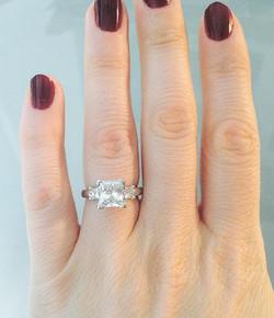 3-stone princess cut ring