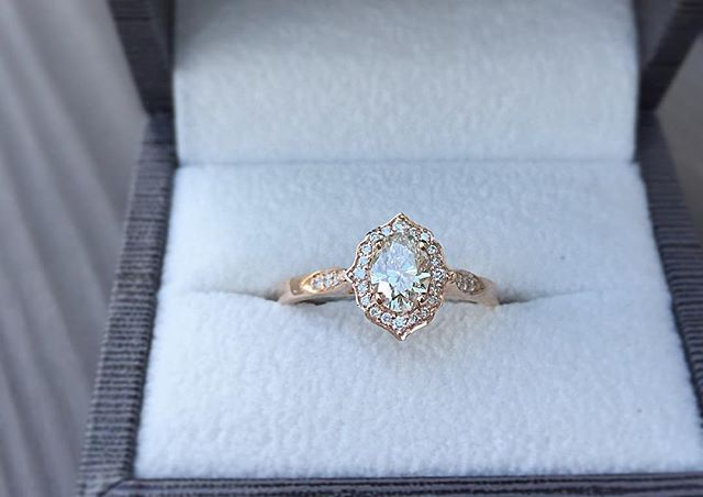 Vintage rose gold and diamond ring