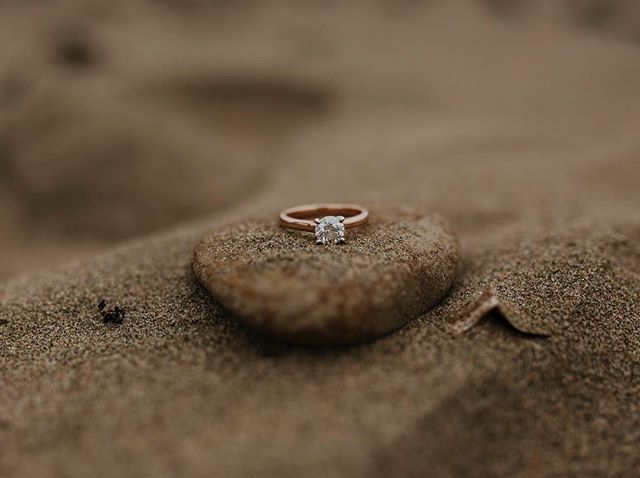 In focus_ a round brilliant solitaire diamond on a rose gold band