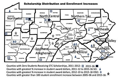 Map of Scholarship Distribution and Priate School Enrollment Inceases in PA