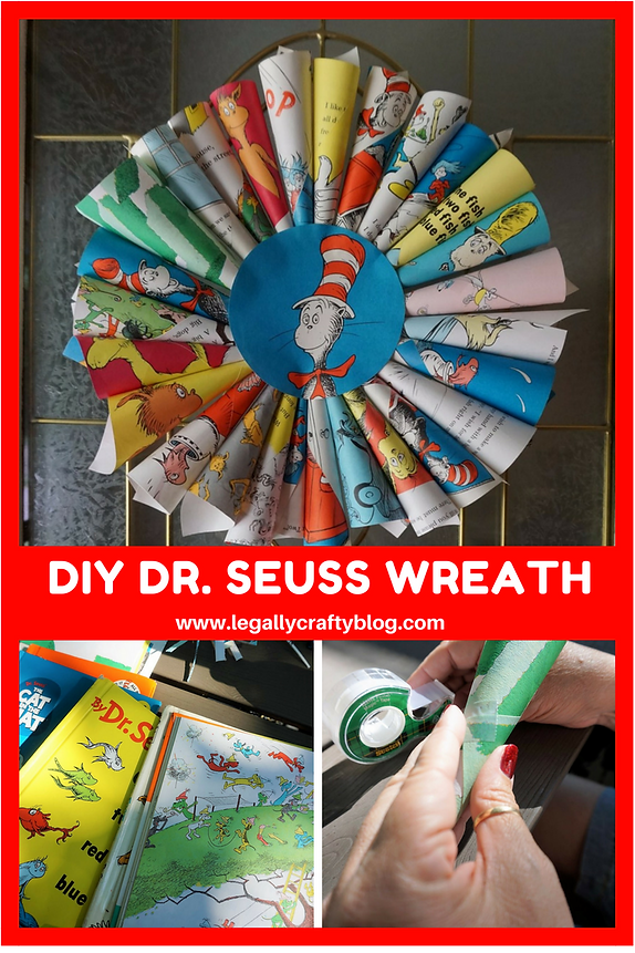 To make the wreath, you'll need some old Dr. Seuss books that you don't mind deconstructing. Sometimes you get lucky and can find them at thrift stores, ...