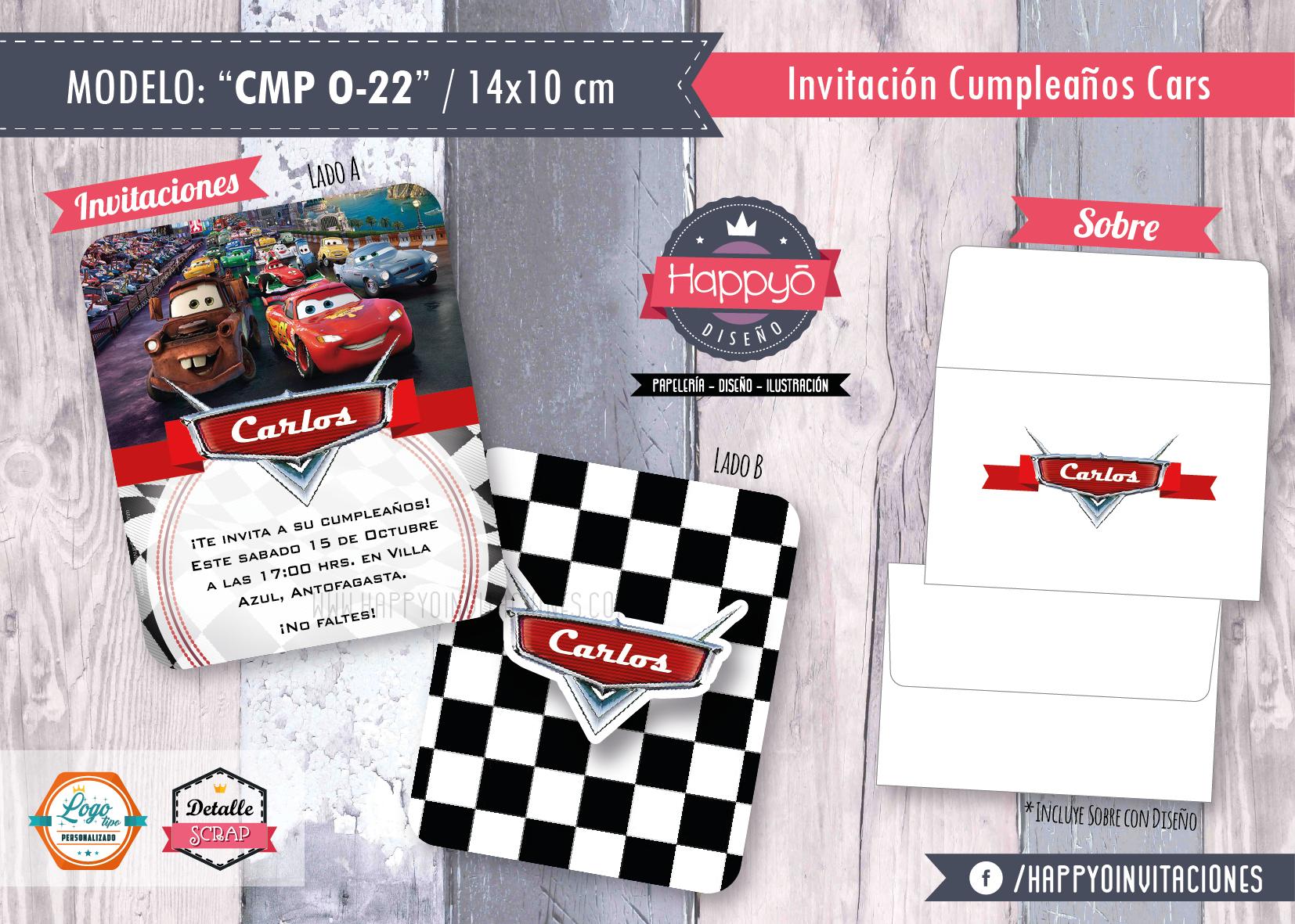 Invitaciones Cumpleaños Cars Niño Happyoinvitaciones