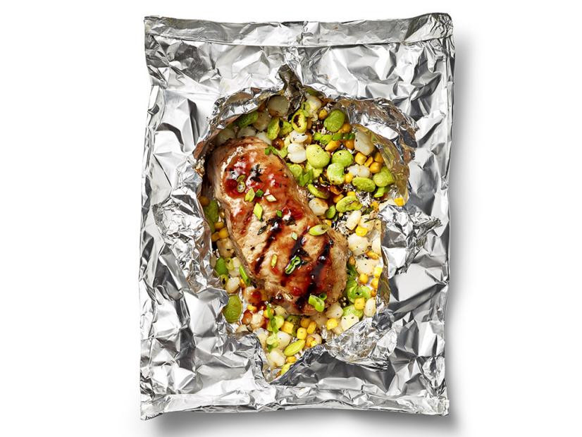 Foil-Packet Barbecue Pork Chops with Succotash