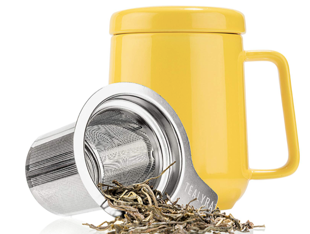 Tealyra - Peak Ceramic Yellow Tea Cup Infuser - 19-ounce - Large Mug with Lid and Stainless Steel Infuser - Tea-For-One Perfect Set for Office and Home Uses
