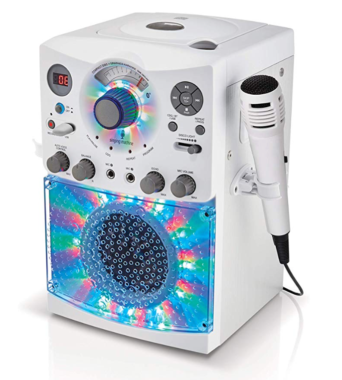 Singing Machine SML385UW Bluetooth Karaoke System with LED Disco Lights, CD+G, USB, and Microphone, White [Amazon Exclusive]