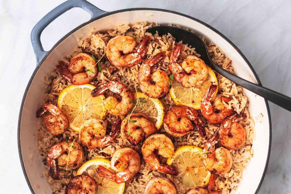 Lemon Herb Shrimp and Rice Skillet