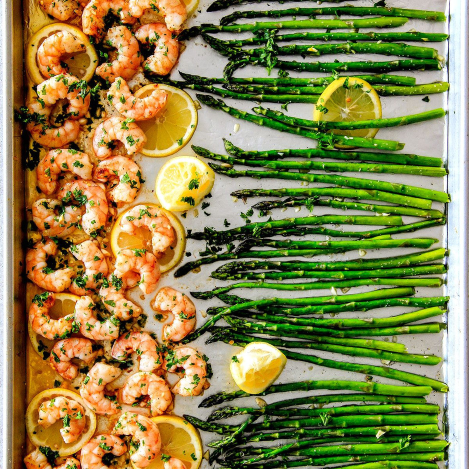 Sheet Pan Lemon Butter Garlic Shrimp and Asparagus