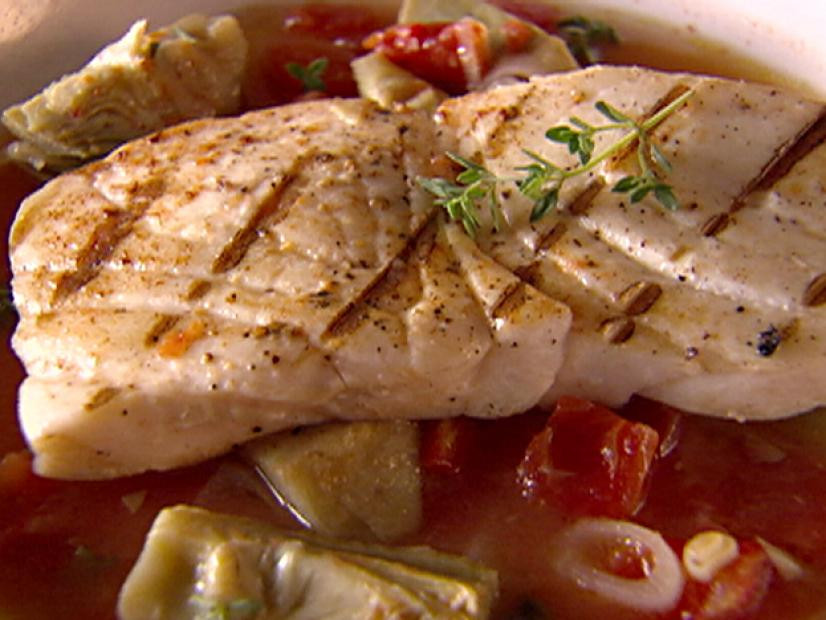 halibut in artichoke and tomato broth recipe