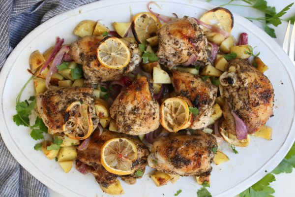 Pamela Salzman Greek sheet pan chicken with lemon and potatoes recipe