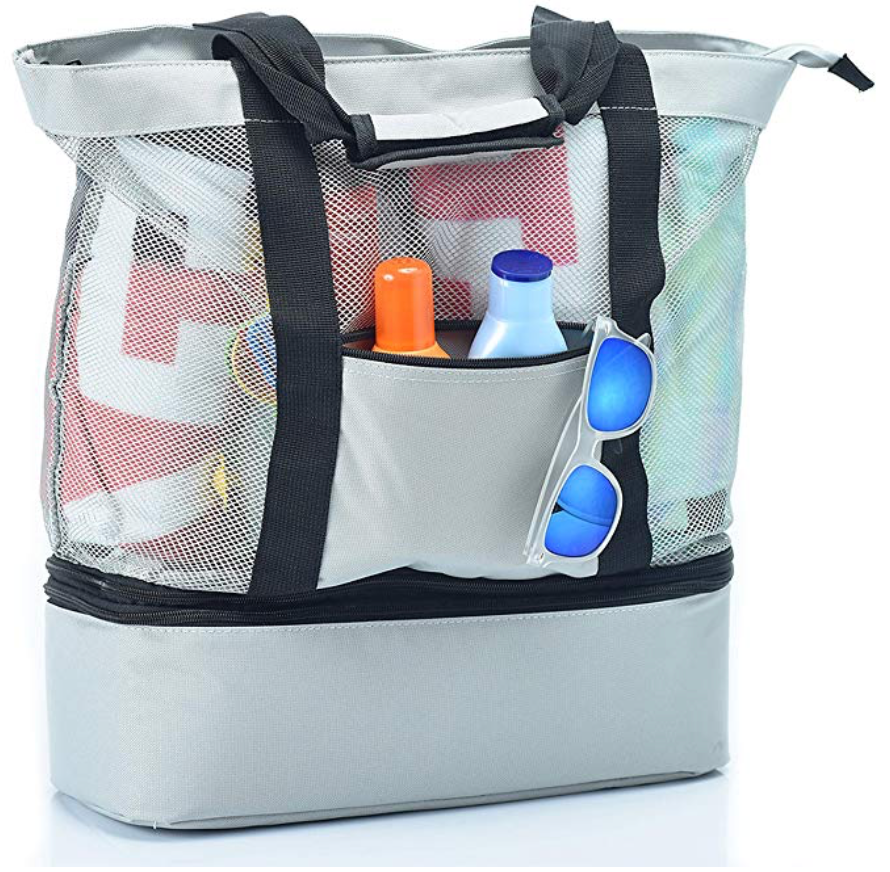 Mesh Beach Bag With Insulated Picnic Cooler
