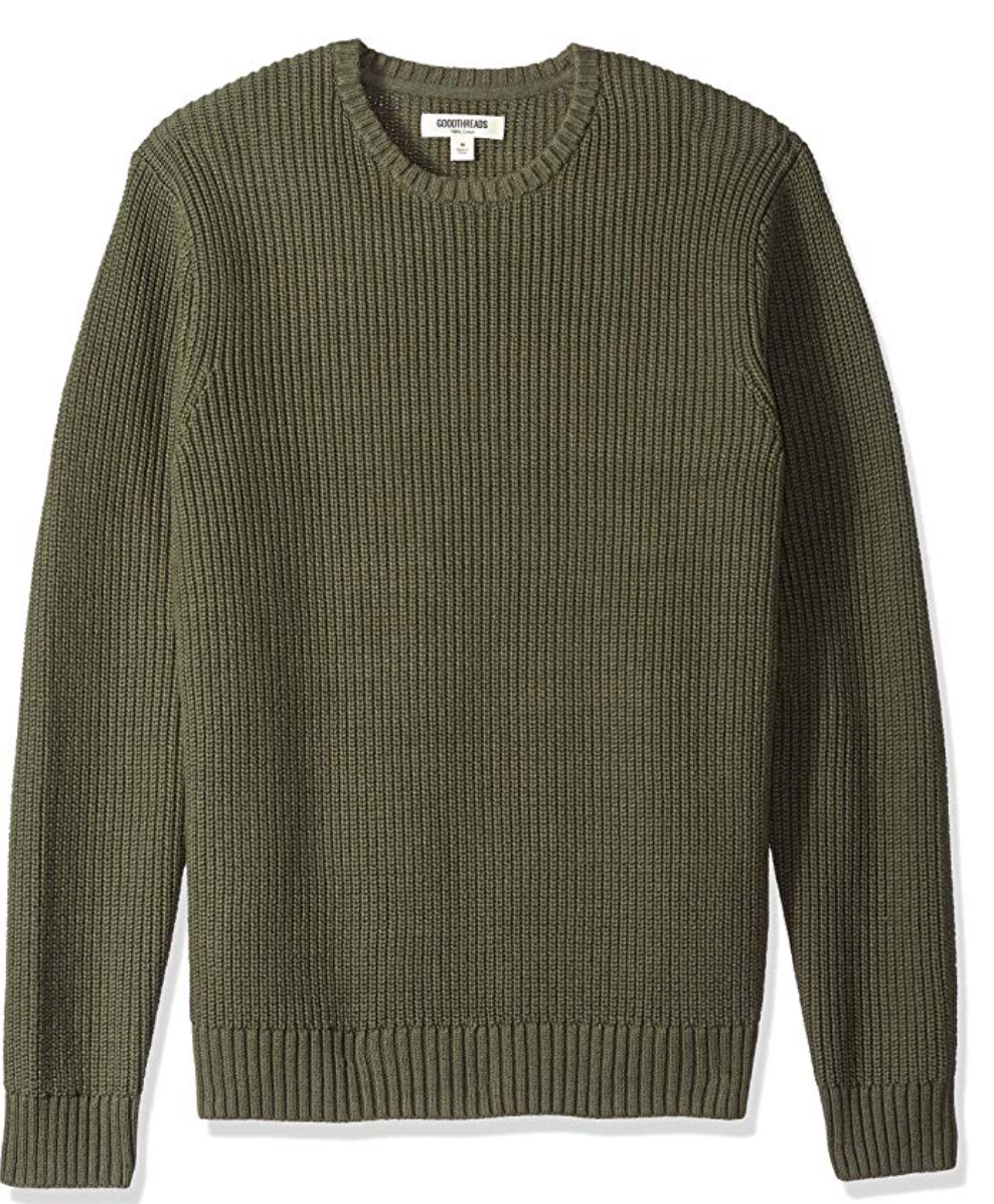 Amazon Brand - Goodthreads Men's Soft Cotton Rib Stitch Crewneck Sweater