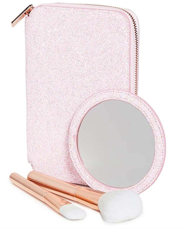 Skinnydip Women's Rose Gold Portfolio Makeup Brush Set