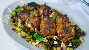 Sheet-Pan Roast Chicken with Brussels Sprouts