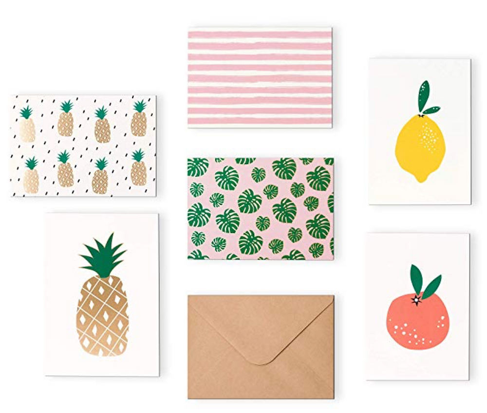 "Outshine 48 Blank Greeting Note Cards with Envelopes in Cute Storage Box (6 Designs) | Bulk All Occasion Notecards | 3.5"" x 5"" Cards for Thank You Notes, Business 