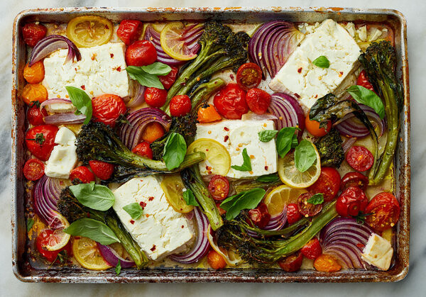 Sheet-Pan Baked Feta With Broccolini, Tomatoes, and Lemon Recipe