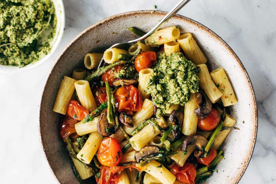 Farmers' Market Pasta with Walnut Pesto Recipe