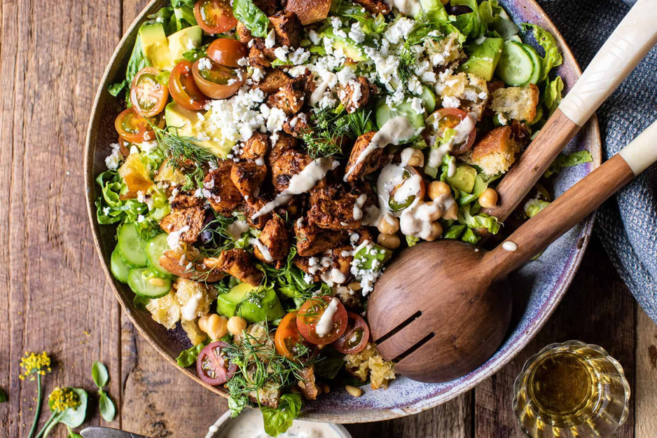Greek Chicken Chopped Salad with Lemon Tahini Vinaigrette