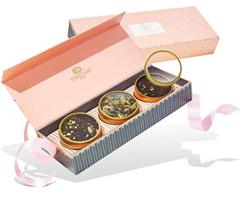 VAHDAM, Assorted Tea Gift Set - BLUSH, 3 Teas in a Tea Sampler Gift Box | 100% Natural Ingredients