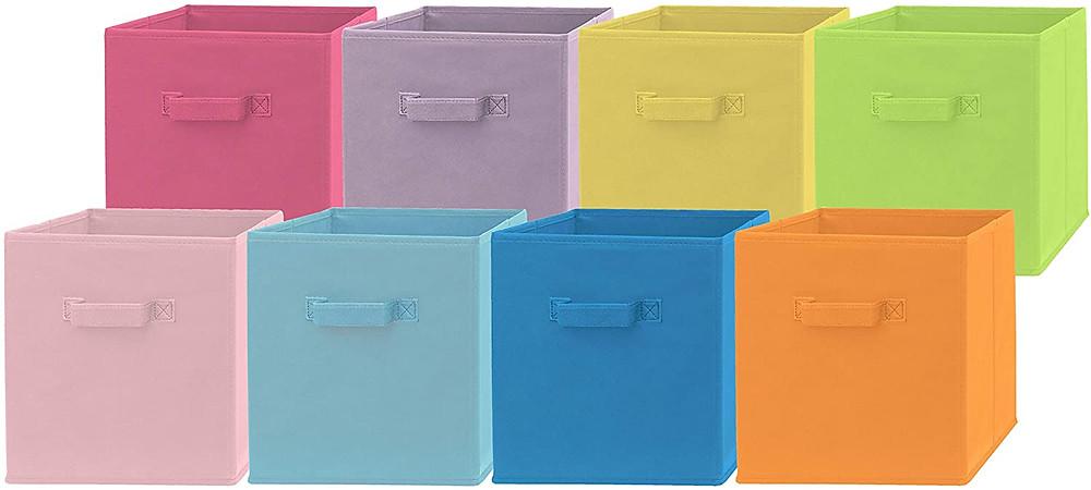 colorful storage bins