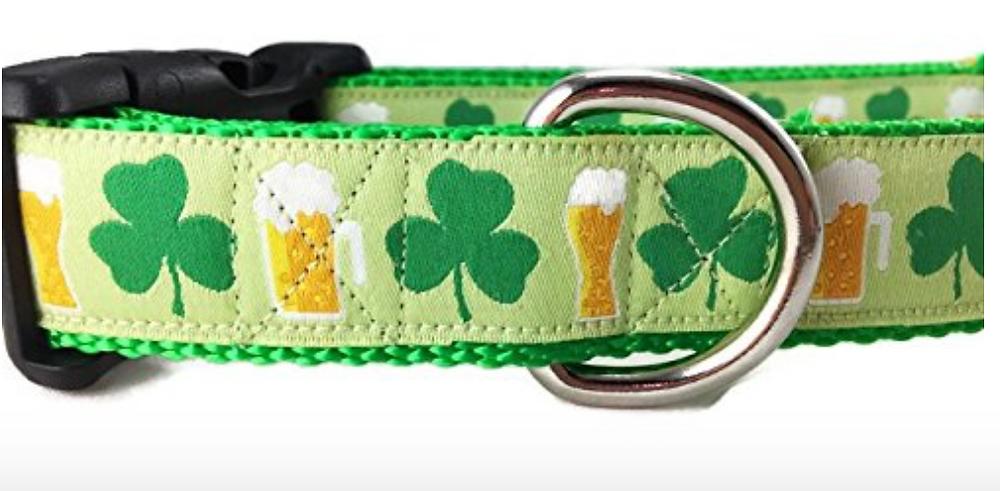 shamrock beer dog collar