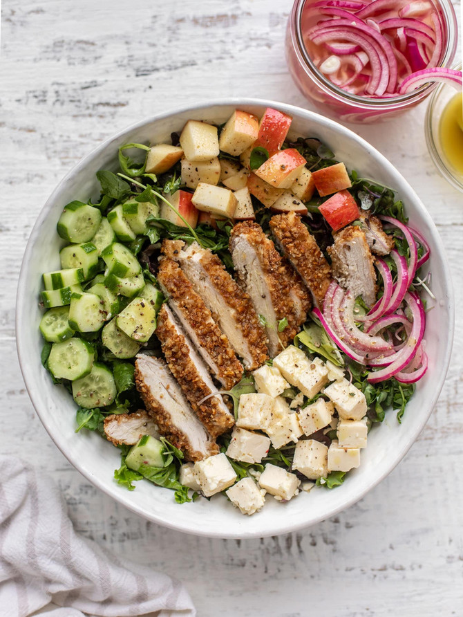 Pretzel Crusted Chicken Salad with Mustard Vinaigrette
