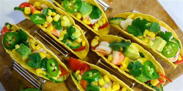 Shrimp, Tomato, Corn and Avocado Tacos