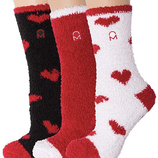 fuzzy valentine socks