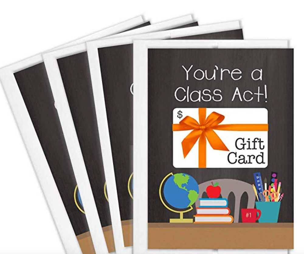 Teacher Gift Card Holders | Set of 4 Cards with Envelopes
