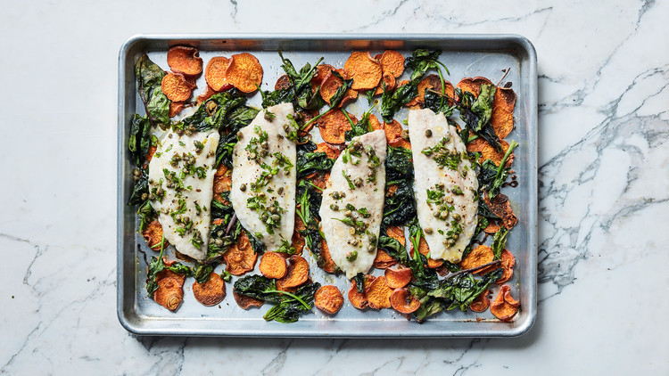 Roasted Sea Bass with Sweet Potatoes, Spinach, and Salsa Rustica