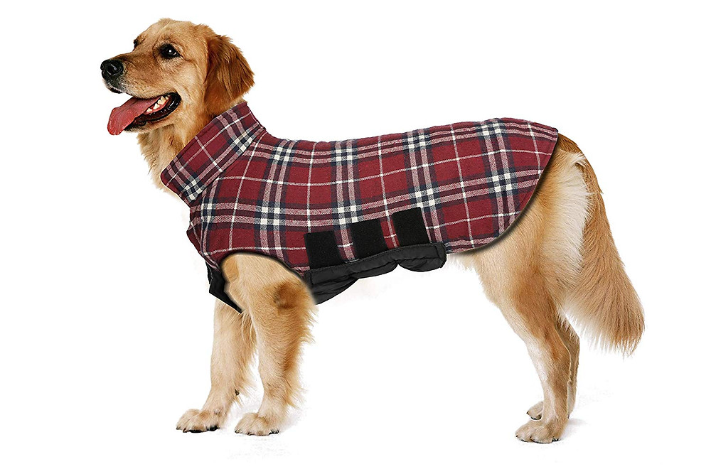 Dog Jacket Dog Coats Waterproof Windproof Warm Reversible British Style Plaid Dog Vest Jacket for Winter Outdoor Small Medium Large Dogs