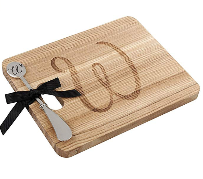 ANDREW FAMILY Monogram Fraxinus Mandshurica Solid Wood Cheese Board With Spreader-W
