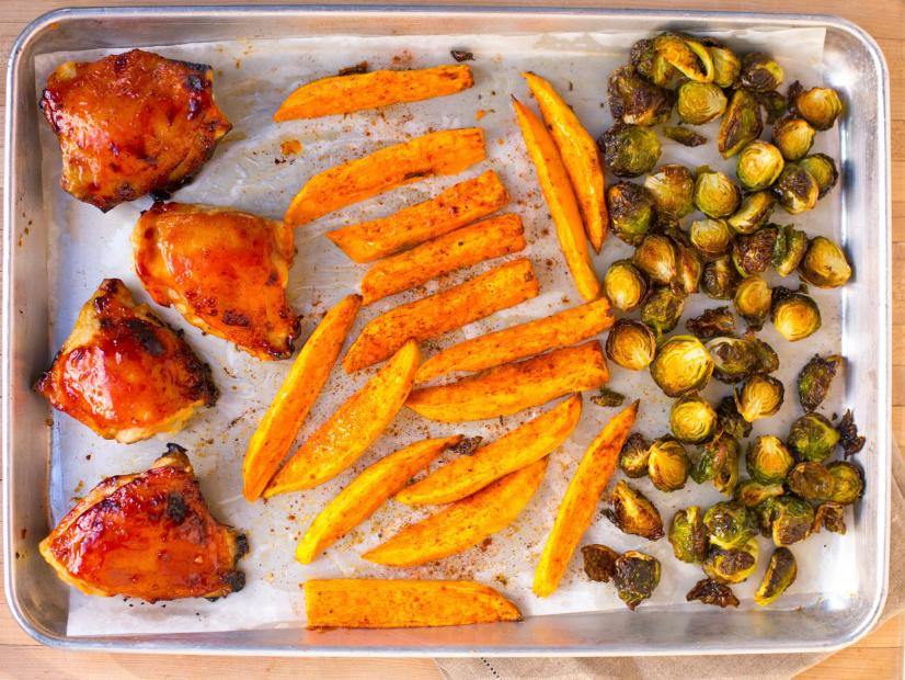 BBQ Chicken and Brussels Sprouts Sheet Pan Dinner